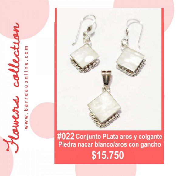 #022 Conjunto plata Nacar Blanco/ aros y colgante (romboide)