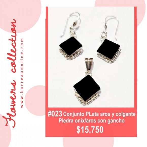 #023 Conjunto plata onix/ aros y colgante(romboide)