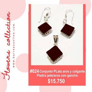 #024 Conjunto plata jade/ aros y colgante(romboide)