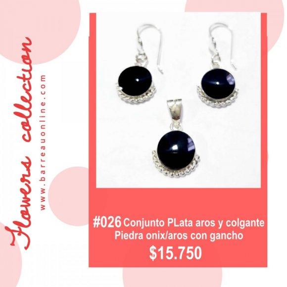 #026 Conjunto plata onix/ aros y colgante(redondo)
