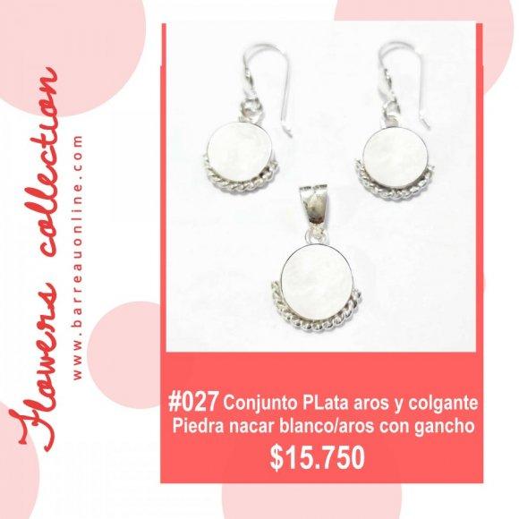#027 Conjunto plata nacar blanco/ aros y colgante(redondo)