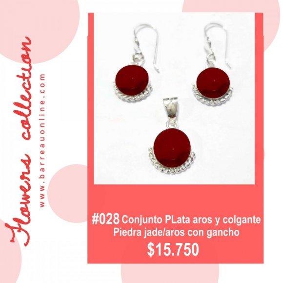 #028 Conjunto plata jade / aros y colgante(redondo)