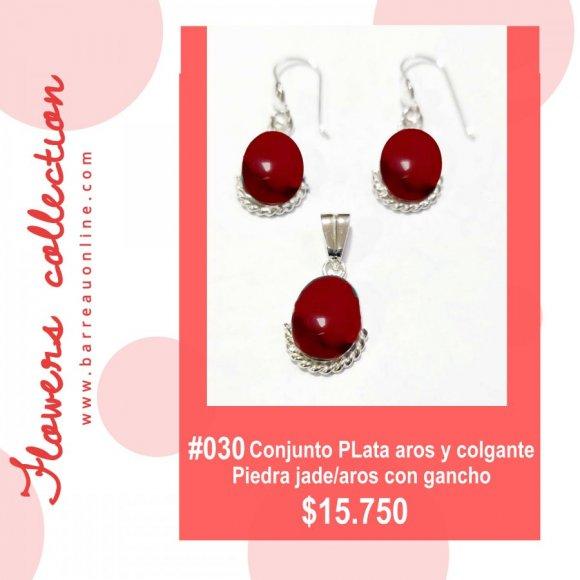 #030 Conjunto plata jade/ aros y colgante(ovalado)