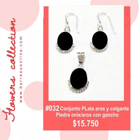 #032 Conjunto plata onix/ aros y colgante(ovalado)