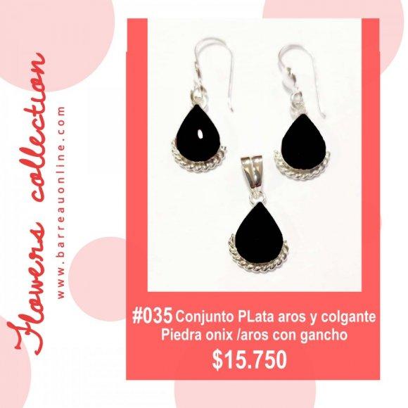 #035 Conjunto plata onix/ aros y colgante(gota)