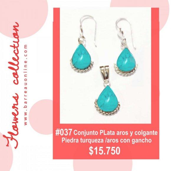 #037 Conjunto plata turqueza/ aros y colgante(gota)