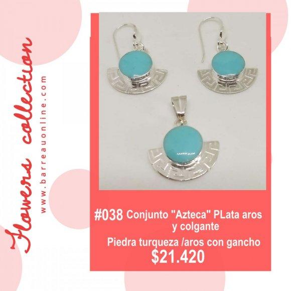 """#038 Conjunto plata """"Azteca"""" turqueza/ aros y colgante"""