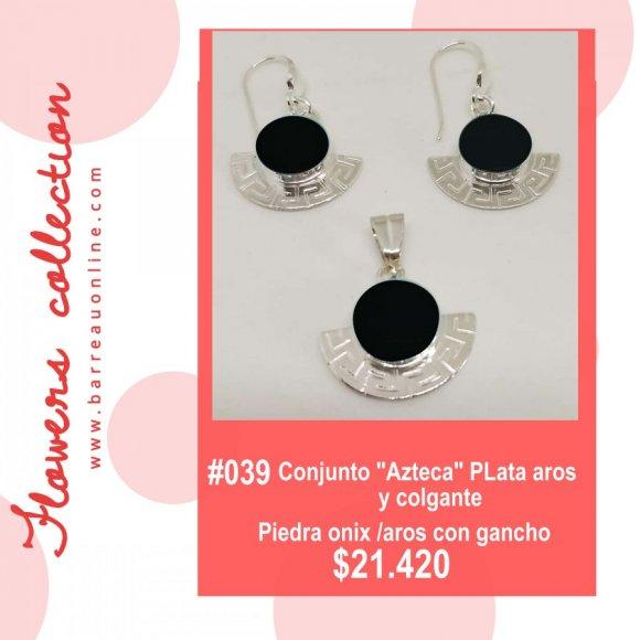 """#039 Conjunto plata """"Azteca"""" onix/ aros y colgante"""