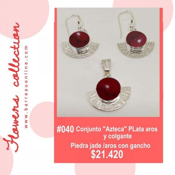 """#040 Conjunto plata """"Azteca"""" jade/ aros y colgante"""