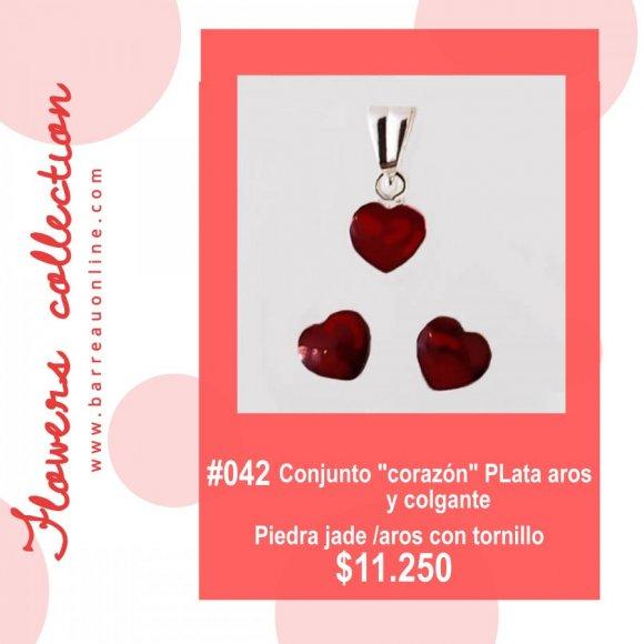 """#042 Conjunto plata """"Corazon"""" jade/ aros c/ tornillo y colgante"""