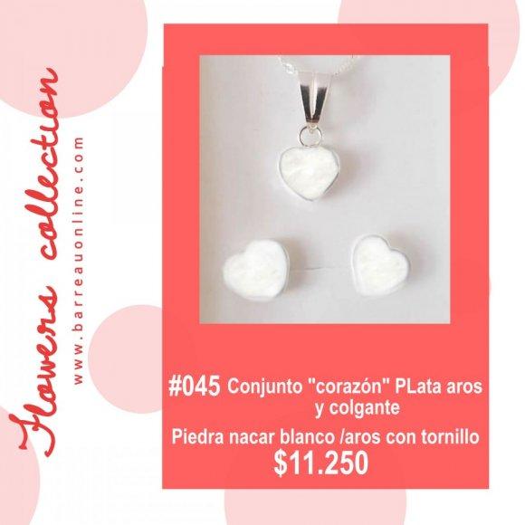 """#045 Conjunto plata """"Corazon""""nacar blanco/ aros c/ tornillo y colgante"""