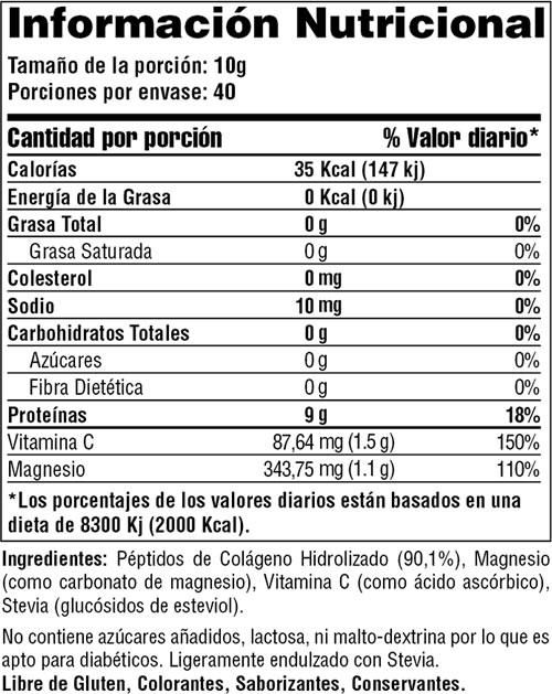 informacion nutricional colageno