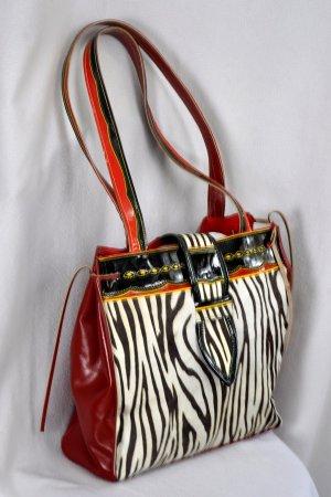 Bolso Dama Carriel Rojo y Zebra