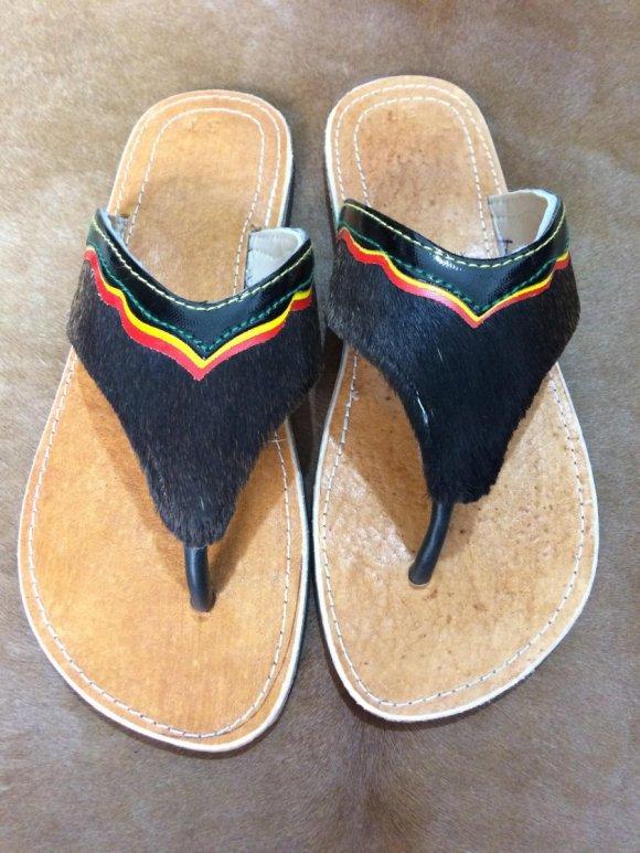 Sandalias Tres Puntadas Pelo Negro