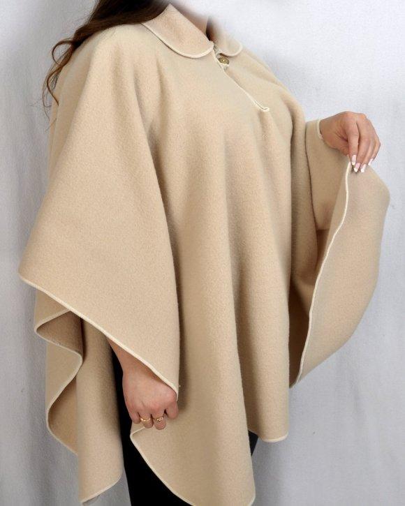 Ruana Dama Camel Cuello