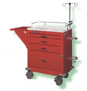Carro Rojo Mod. Jumbo Cubierta Acero inox. c/ porta desfibrilador Nacional