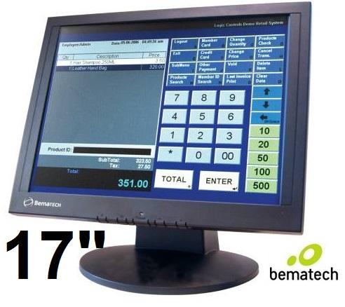 """Bematech 11709, Monitor Touch Táctil de 17"""", Pantalla táctil de alta sensibilidad, Resistente al contacto de objetos y humedad, Condiciones de operación:5⁰ C a 40⁰ C, Interface USB para conexión a CPU, Componentes de grado industrial"""