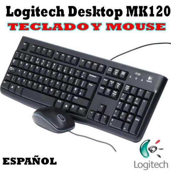 Logitech Combo MK120 920004428, Teclado y Mouse con Cable, USB, Teclado elegante y cómodo, y mouse óptico de alta definición: una combinación resistente, cómoda, elegante y sencilla a la vez, Diseño resistente a salpicaduras, espaciadora curvada