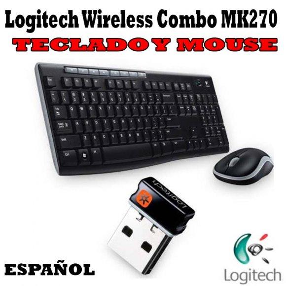 Logitech Wireless Combo MK270 920004432, Teclado y Mouse, Un teclado con todo tipo de funciones y un mouse fácil de llevar, inalámbrica y pilas de larga duración, inalámbrica de gran alcance 2.4 GHz, Mouse contorneado con receptor extraíble