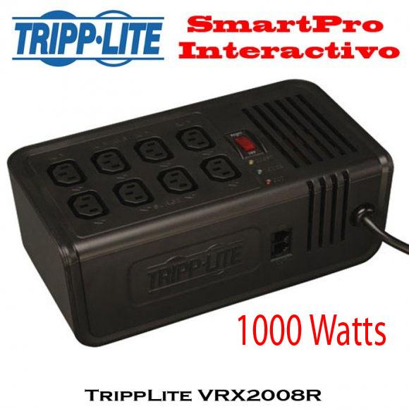 TrippLite VRX2008R, Regulador de Voltaje de 1000 Watts, Regulación automática de voltaje con supresión de sobretensiones de corriente 8 tomacorrientes C13 IEC, Cable de alimentación de CA de 0.9 m [3 pies]