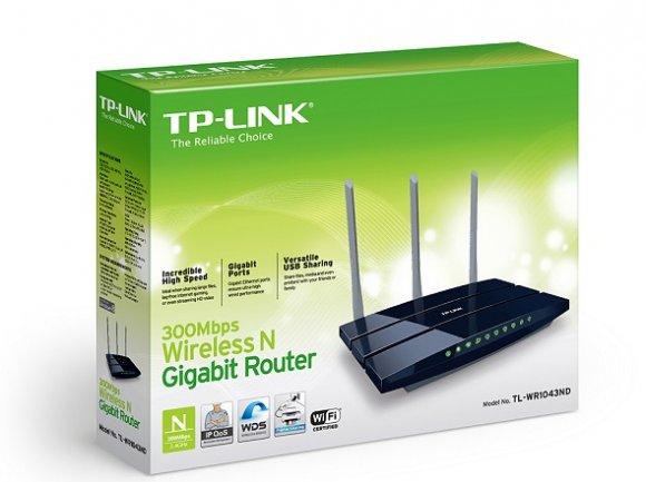 TP-Link TL-WR1043ND, ROUTER INALAMBRICO GIGABIT, 450MBPS, 2.4GHZ, 3 ANTENAS REMOVIBLES 5DBI, MIMO 3X3, PUERTO ETH GIGABIT, STORAGE SERVER, PRINT SERVER INCLUIDO, MEDIA SERVER
