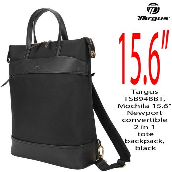 "Targus TSB948BT, Mochila 15.6"" Newport convertible 2 in 1 tote/backpack, black"