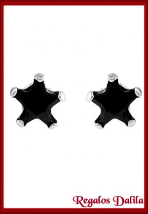 Aros de Plata Rodinada Circón Negro 8 MM