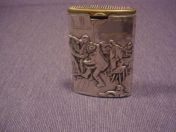 Antique Match Box Holder Vesta Case 800 Silver Crown